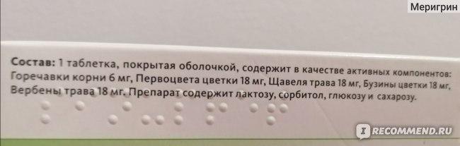 Противовирусное средство Синупрет в таблетках, состав