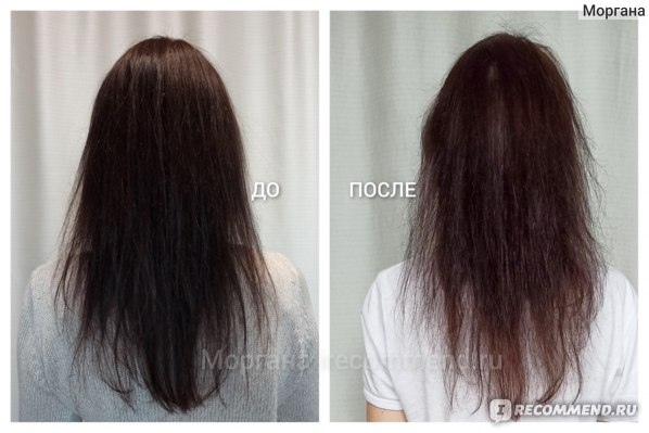 До _ ПОСЛЕ   Крем для волос Ollin Perfect Hair 15в1 LEAVE-IN cream spray