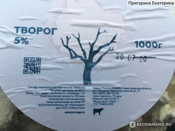 Творог Юронга 5%, 1000 г. фото