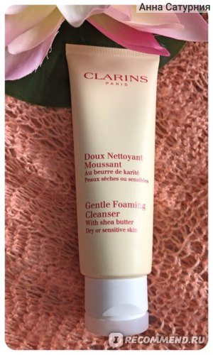 Очищающий пенящийся крем Clarins Doux Nettoyant Moussant с маслом карите для сухой и чувствительной кожи фото