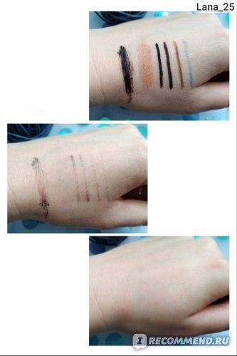 Косметика слева на право: 1-тушь, 2-тени, 3-чёрная подводка для глаз, 4-чёрный карандаш для глаз, 5-карандаш для бровей, 6-серебристый карандаш для глаз.