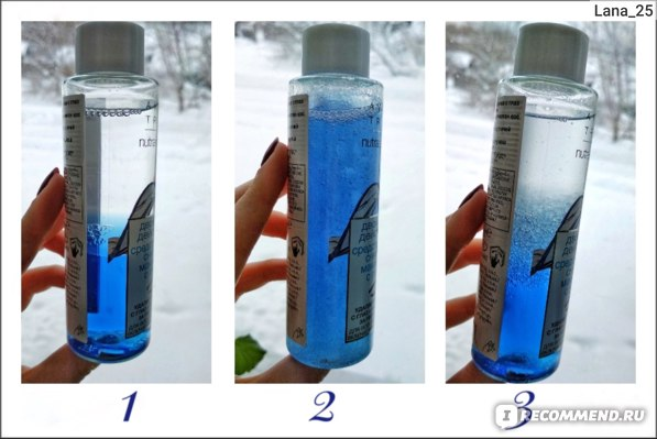 1. Средство до встряхивания; 2. Средство сразу после встряхивания; 3. Средство спустя 1 мин после встряхивания