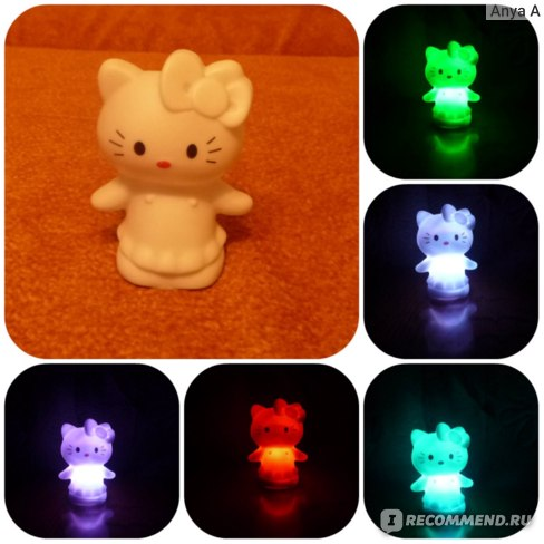 Ночник детский Aliexpress Party Animal Decoration Lamp Cute Cat Colorful Changing Small LED Night Light фото