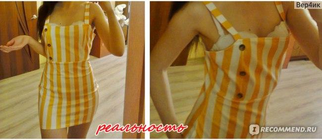 Платье AliExpress Women's pencil dress with stripes, open back, buttons фото