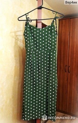 Платье летнее AliExpress Women's Casual Polka Dot Dress, Evening Sleeveless, High Waist and V-neck фото