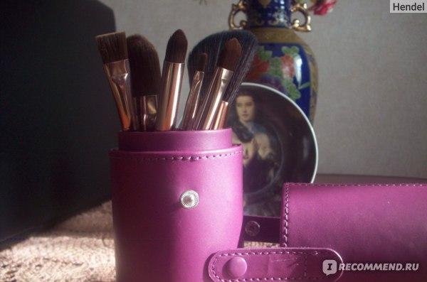 Футляр для кистей Aliexpress 1Pc PU Leather Travel Empty Makeup Brush Holder Storage Leather Travel Cosmetic Brushes Pen Holder Organizer Beauty Tool фото