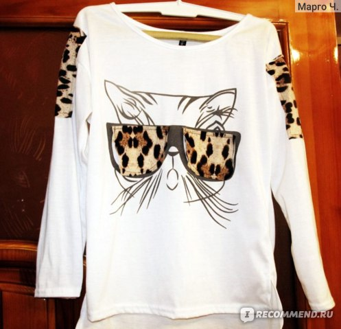 Кофта AliExpress New Women's trendy clothes Tops Tees leopard glasses Kitten T-shirt tops Lowest Price фото
