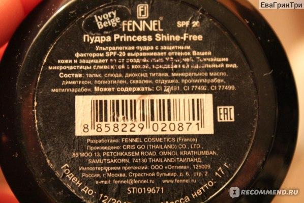 Пудра Fennel Princess shine free powder фото