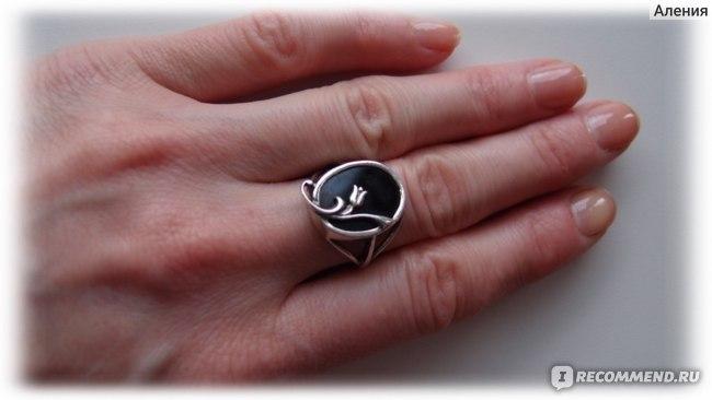 Кольцо Фабрика Приволжский Ювелир из серебра 925 пробы 233368 вес 3,40 агат черный фото