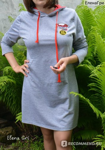 Платье Gearbest Preppy Style Hooded Letter Embroidered Long Sleeve Dress For Women  -  3XL  LIGHT GRAY фото