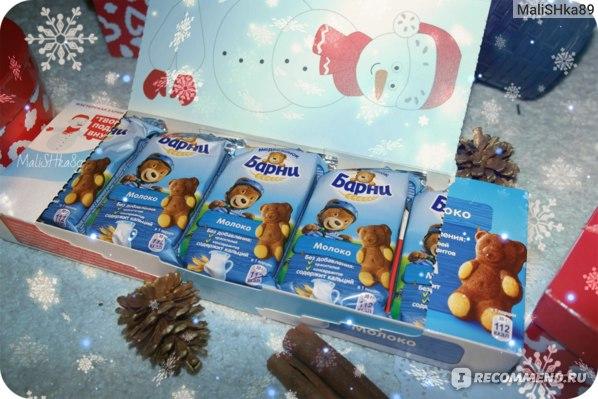 """Бисквит Mondelez Новогодний подарок """"Медвежонок Барни"""" с молочной начинкой фото"""