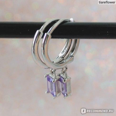 Серьги Aliexpress S925 Sterling Silver Stud Earring Korean Romantic Purple Zircon Earring For Valentine's Day Crystal Jewerly Piercing Pendientes фото