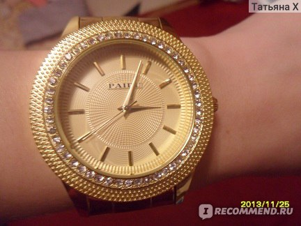 Часы Tinydeal Fashionable Round Case Quartz Analog Watch Wristwatch Timepiece with Rhinestones & Alloy Band for Girl Lady  фото