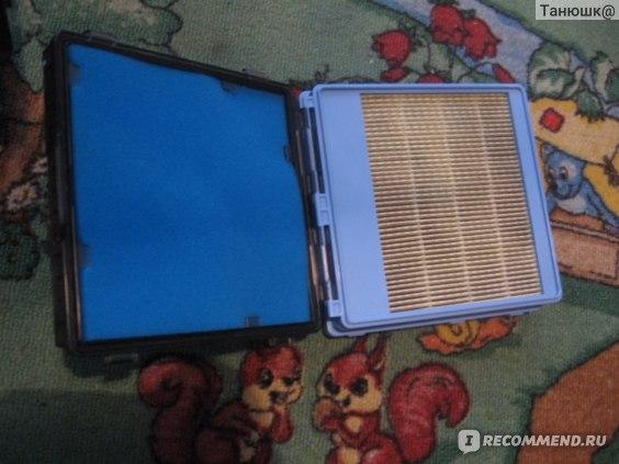 Пылесборник состоит из губки (она голубая) и фильтра (светлый), они зафиксированы в пластиковой рамке.