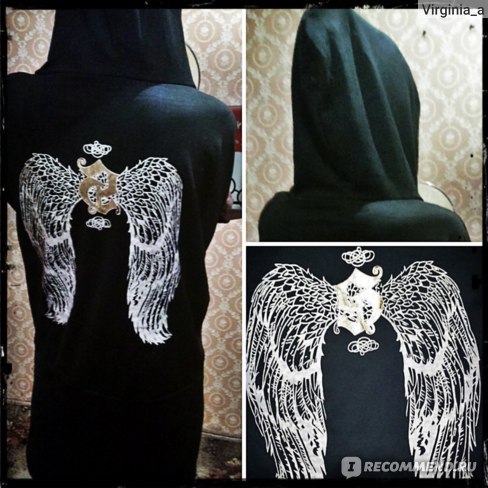 Толстовка AliExpress Hot ! back wings women hoody dress, young and sexy фото