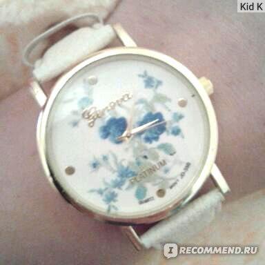 Часы женские Aliexpress Geneva Rose Flower Fashion Smashing Faux Leather Watch Dress Quartz Watches фото