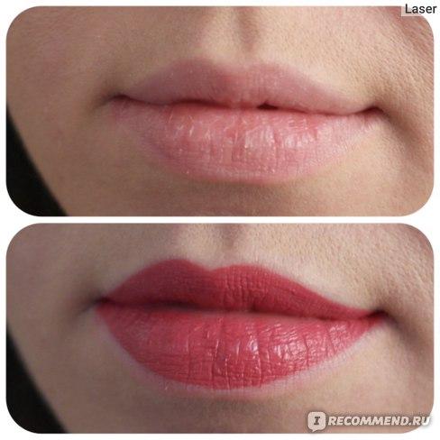 Жидкая губная помада-тинт для губ L`Oreal Paris Rouge Signature Parisian Sunset, оттенок 121 I choose, до и после