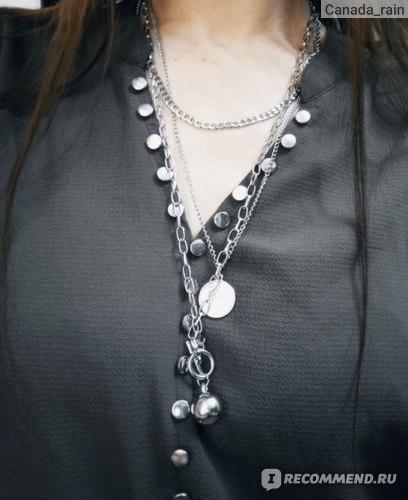 Украшения RIONA jewels  Цепочка цепь на шею с кулоном подвеской монеткой в подарочной упаковке фото