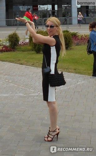 Платье AliExpress New Free Shipping Classic Black and White Patchwork Slim Vintage Elegant Summer Sleeveless O-Neck Bodycon Knee-Length DressS-XL фото
