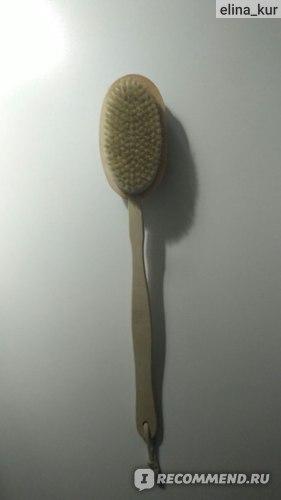 Массажная щетка Галамарт для тела двойная с натуральной щетиной и массажёром на цельной деревянной ручке фото