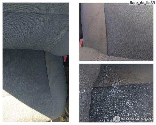 До/ в процессе использования очистителя ковровых покрытий салона с запахом лимона Runway