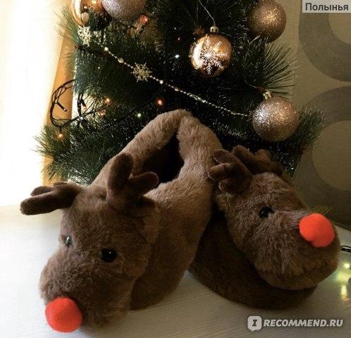 Тапочки Christmas Kids Reindeer Slippers Новогодние тапочки в виде оленей.
