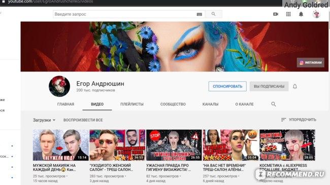 Ютуб-канал Егора Андрюшина