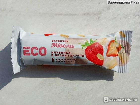 Батончик мюсли Лента ECO Клубника в белой глазури фото