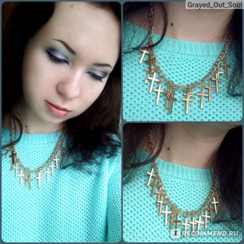 Ожерелье Aliexpress Women Fashion Jewelry Elegant Hollow Yellow Gold Filled Cross Necklaces & Pendants 02B1 фото