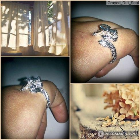 "Кольцо Aliexpress ""ДРАКОН"" Silver Ring Fashion Opening Dargon Head Ring Women&Men фото"