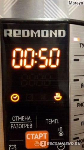 Redmond Мультикухня: табло во время готовки