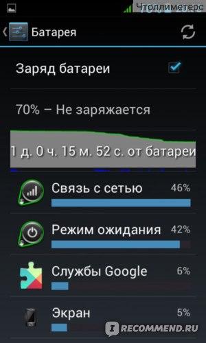 как видно, батарейку заряжала сутки назад, периодически включала мобильный интернет, 70% зарядки)