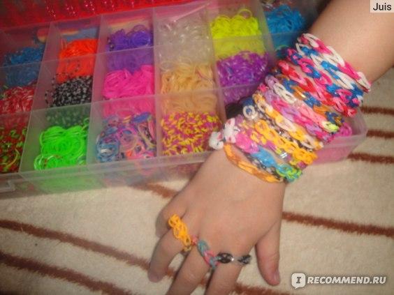 Резиночки для плетения Aliexpress Loom Kits Rubber Bands Bracelet DIY Refills Children Toy Gift Mixed Box with Clip & Hook & Pendant фото