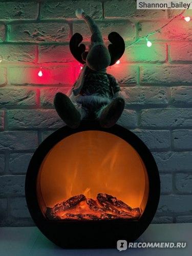 Светильник декоративный Kuchenland 35 см, пластик, черный, Камин круглый, Fireplace  фото