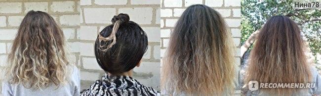 слева:волос смят после резинки, два фото справа: я без укладки, просто высушила феном
