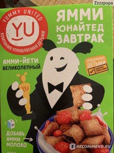 Завтрак Yummy United Микс подушечек со вкусом шоколада и хлопьев в глазури со вкусом вишни фото