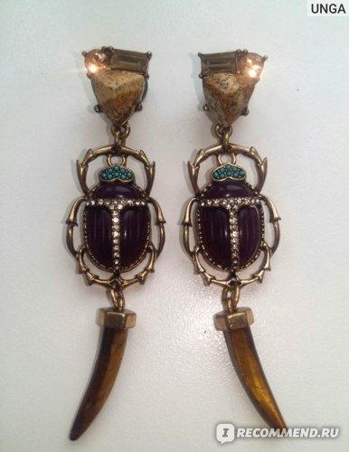 Серьги Aliexpress (скарабей) kissme 2020 Halloween Gifts Geometric Horn Resin Natural Stone Long Dangle Earrings For Women Fashion Jewelry Wholesale фото