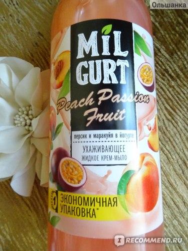 """Жидкое крем-мыло Весна """"MILGURT"""" персик и маракуйя в йогурте фото"""
