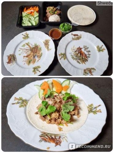 Утка по-пекински с рисом и сливовым соусом