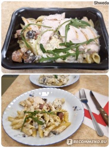 Паста карбонара с цыплёнком и панчеттой. Сервировка с пасхалкой для белорусов