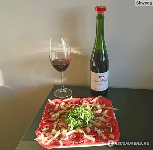 Вино Сан Валентин Гарнача и карпаччо