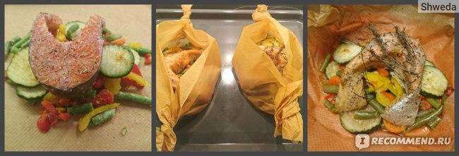 Стейк из лосося с овощной смесью