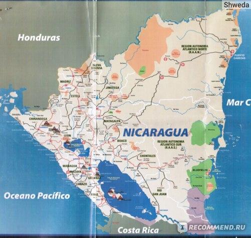 Карта Никарагуа, подробная
