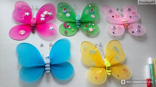 Бабочки из набора (синяя - без украшения)