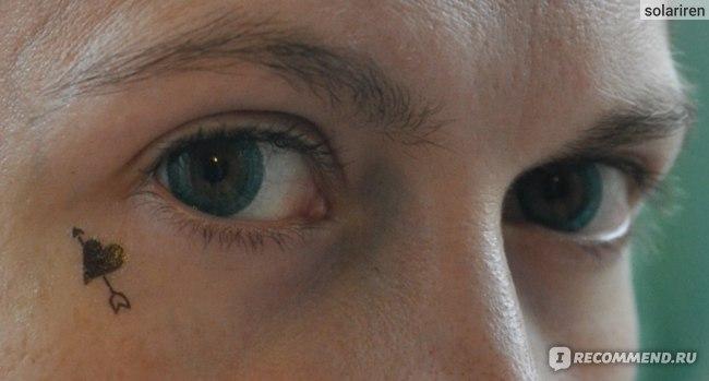бирюзовые контактные линзы на зеленых/коричневых глазах