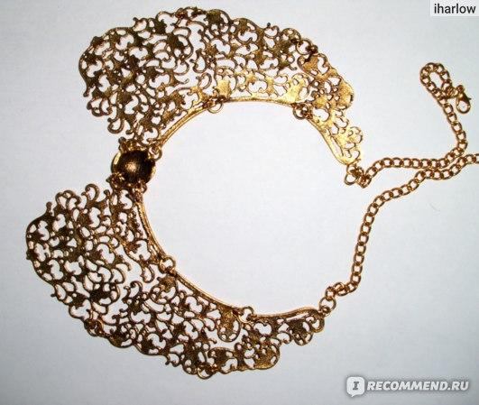 Колье Buyincoins Vintage Style Bronze Hollow Metal Flower Shape False Collar Choker Bib Necklace фото