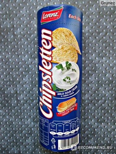 Чипсы картофельные Lorenz Chipsletten Со вкусом сметаны и зеленого лука фото