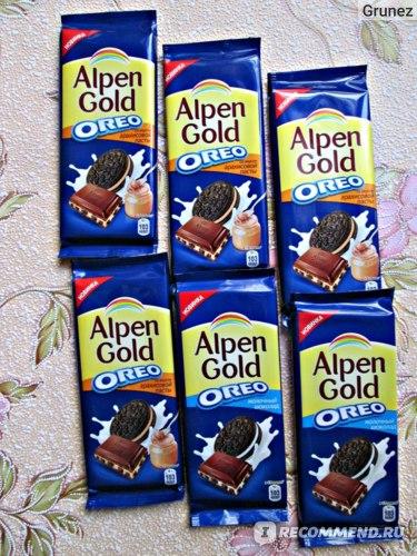 Молочный шоколад Alpen Gold OREO с начинкой со вкусом арахисовой пасты и кусочками печенья фото