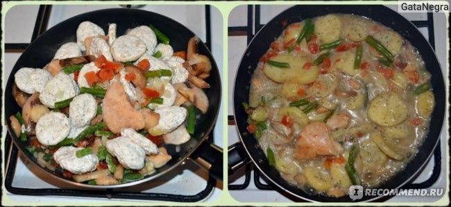 Слева - только что высыпанная смесь, справа - готовое блюдо через 10 мин ;-)