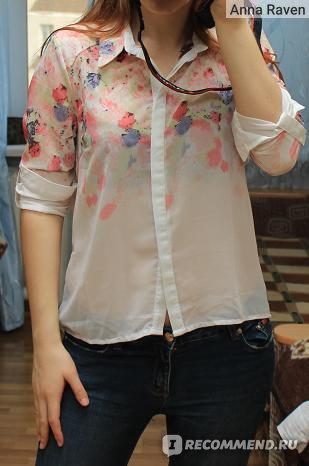Блуза AliExpress Hot Sell New 2014 Fashion Women Chiffon Blouses Women Flower Print Lapel Casual Chiffon Long Sleeved Shirts Women Tops J4086 фото